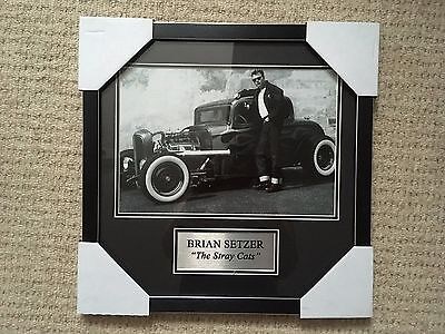 Brian Setzer From The Stray Cats Photo In Frame With Plaque Bnwt