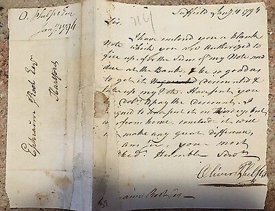 1794 Oliver Phelps Autograph Letter Suffield CT Revolutionary War