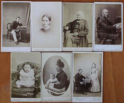 Job Lot of 7 Victorian CDV Photos All Isle of Wight IOW Photographers