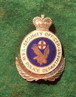 Obsolete  Nsw Police Department Security Officer Hat Badge