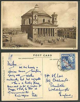 Malta Self Government Overprint KG6 3d Air Mail Old Postcard Dome of Mosta Musta