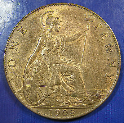 1908 1d Edward VII bronze Penny in a lovely lustrous aUNC