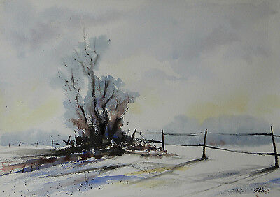 Original Watercolour Painting, Winter Field, A3, New.