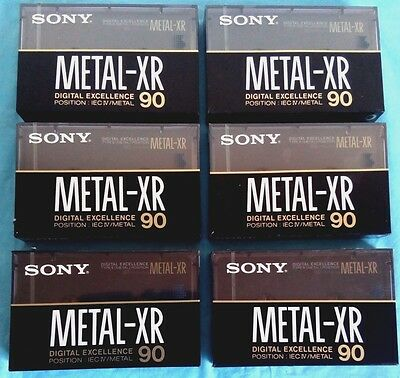 6x SONY METAL XR 90 [1989] Blank Audio Cassette Tapes NEW sealed - made in Japan
