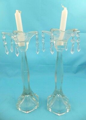 Stunning Vintage Glass Candle Holders With Glass Droplets Pair x 2 AND Candles