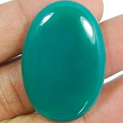 """47 Cts Majestic Natural """"green Onyx"""" Oval Gemstone Cab Gems_Beads_India"""