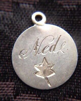 Victorian Solid Silver Threepence Coin Holed Engraved NED Love Token Charm
