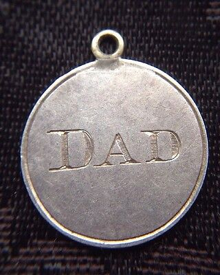Victorian Solid Silver Threepence Coin Holed Engraved DAD Love Token Charm