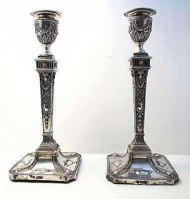VICTORIAN Antique Adam Style English Sterling Silver Candle Holder Candlesticks