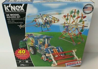 K'nex 40 Model Building Set New 375 Pieces Tractor Ferris Wheel Helicopter NEW