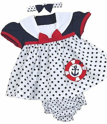BABYPREM Baby Girls Clothes Navy Red Spotty Dress Knickers Headband Set Outfit