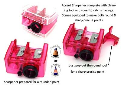 Cosmetic Pencil Duo Sharpener - Includes both Round & Sharp for precise point.