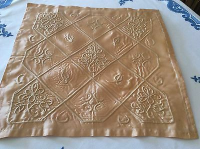 Vintage embroidered cushion cover pale gold satin