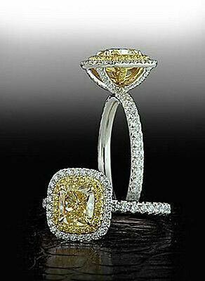 2 ct Engagement Ring Solid 10k White Gold Jewelry Duoble Halo Yellow Cushion Cz*