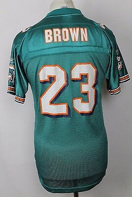 BROWN #23 Vintage Miami Dolphins American Football Jersey Reebok Youths XL Rare