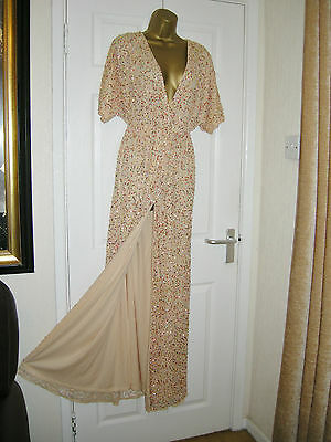 12 Maternity Asos Dress Kimono Gold Sequin Sparkle Embellished 20's 30S Gatsby