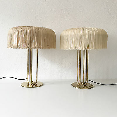 PAIR of XL Mid Century SILK FRINGE Brass TABLE LAMP Hans-Agne JAKOBSSON Markaryd