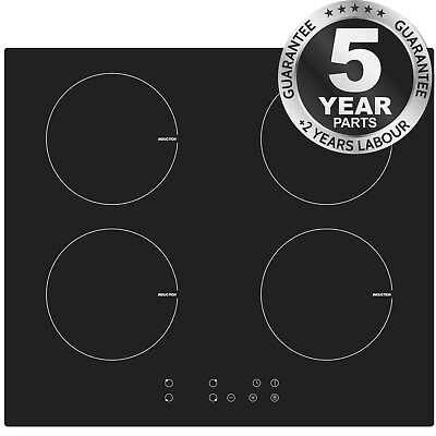 SIA IND601BL 60cm Black Glass 4 Zone Touch Control Electric Induction Hob