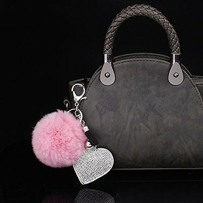 Rabbit Fur Ball PomPom Cell Phone Car Pendant Handbag Key Chain Ring Ball Charm