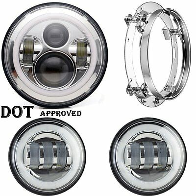 """7"""" Motorcycle LED Projector Daymaker Style Headlight Passing Lights For Harley"""