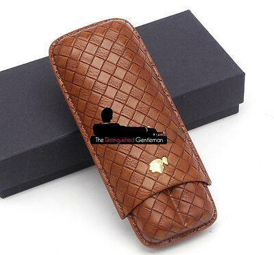 COHIBA BROWN LEATHER WEAVED TRAVEL 2x CIGAR CASE