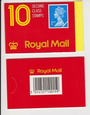 GB Barcode Stamp Booklet HC1 1989 CYL B1 10 x 2nd class Bright Blue