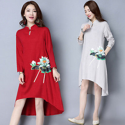 New SpringTraditional Printing Floral Cotton&Linen Chinese Women's Casual Dress