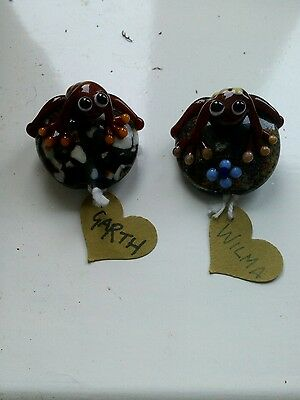 2 Hand Made Tree Frogs. Very Collectible. Wilma & Garth. Ideal Gift For Frog Fan