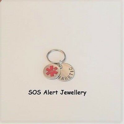 Steel Stainless Medical Alert Warning SOS Tag Key Ring with Medical Charm