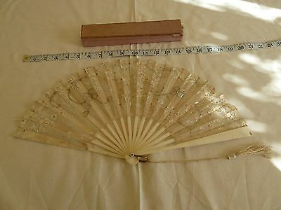 Genuine antique Victorian silk organza fan with lace and sequins, wedding.