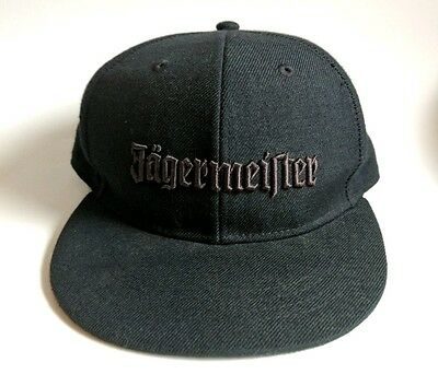 Mens Fitted Jagermeister Baseball Hat Cap M/L Black Stitched Label