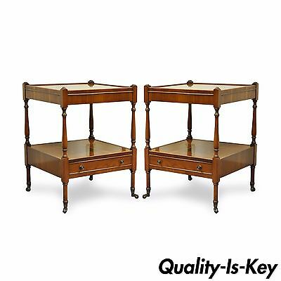 Pair of Vintage English Yew Wood 1 Drawer 2 Tier End Side Lamp Bedside Tables