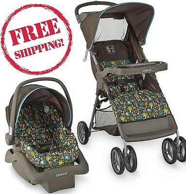 COSCO Baby Stroller Travel System Car Seat Comfortable Combo Wild Things Newborn