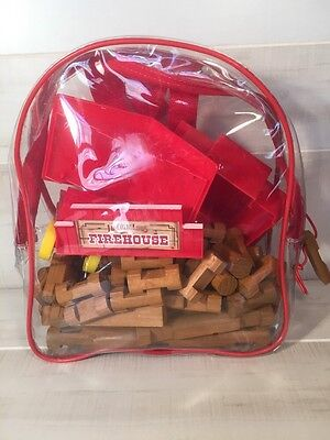 Lincoln Logs Firehouse Set with Clear Backpack 71 Block 4 Plastic Incomplete Set