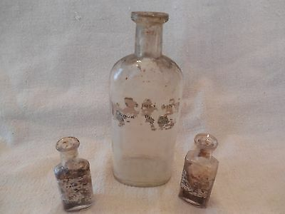 (3) ANTIQUE APOTHECARY BOTTLES / FRANK PIERSON, LEOMINSTER, MA c.1896