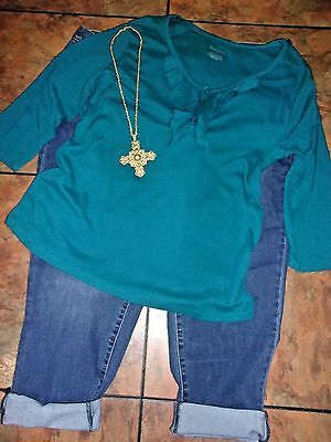 Women's Plus Clothing Lot American Rag Jeans Tunic Knit Top Necklace 24W
