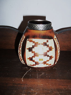 Fine Old Hand Carved Argentinian  Mate Gourd Tea Cup Wih Silver Collar