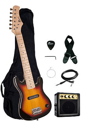"Raptor Kid's 30"" Sunburst Electric Guitar Starter Pack w/ 3w Amp, Bag, Strap"