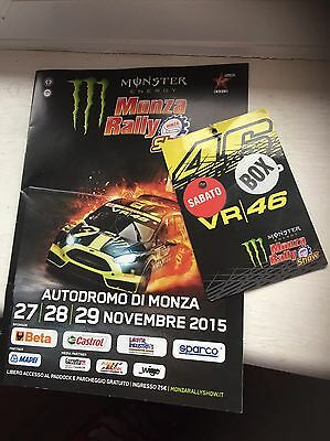 2015 Valentino Rossi Monza Rally Access All Areas Vip Pass And Programme Rare.