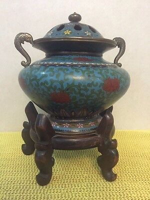 Vintage China Chinese Copper Cloisonne Incense Burner With Wooden Stand