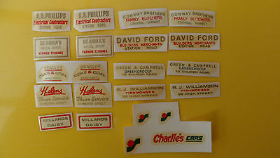 Mabex advertising transfers/decals x 10 for van/shop etc, 4mm scale