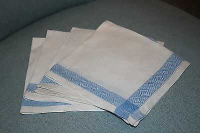 FOUR Antique Cream and Wedgewood Blue LINEN Luncheon Napkins ANTIQUE PERFECTION