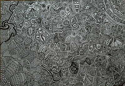black and white patterned drawing by self represented artist Holly madeley