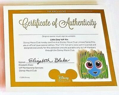 "Disney PIXAR Finding Dory ""Little Dory"" Pin w/ Certificate of Authenticity- RARE"