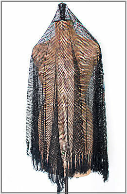 Antique Gothic Victorian Black Silk Tatted Lace Shawl Piano Shawl