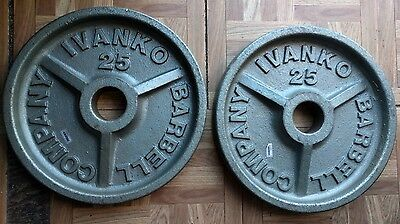 """Ivanko Barbell 2x25 lbs Weight Plates 2"""" Olympic Pair 25 pounds Deep Dish"""