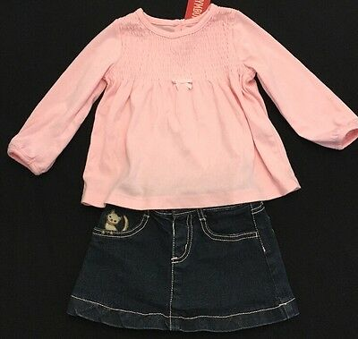 Gymboree Size 18-24 Months Kitty Denim Skirt And Pink Shirt Girls Outfit NWT