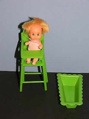 Vintage Sunshine Family Baby Sweets Doll Cradle Highchair