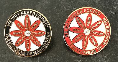 """THE BUSBY BABES """"FLOWERS OF MANCHESTER"""" UNITED ENAMEL PIN BADGE - RED or BLACK"""