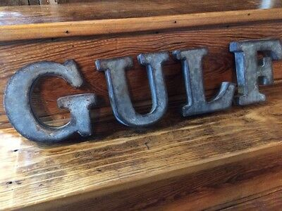 Gulf Gas And Oil Sign Pump 3D Tin Letters Metal Not Porcelain Old Antique Light